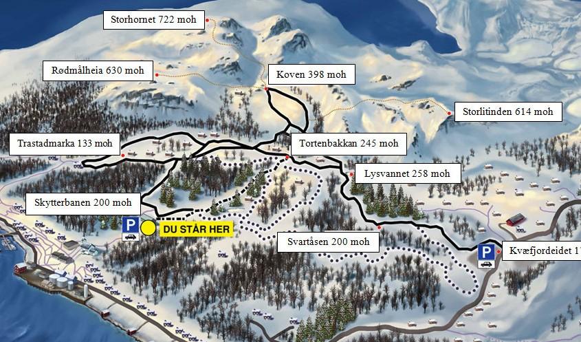 kart og avstander Kvæfjordløyper | Kart og avstander kart og avstander